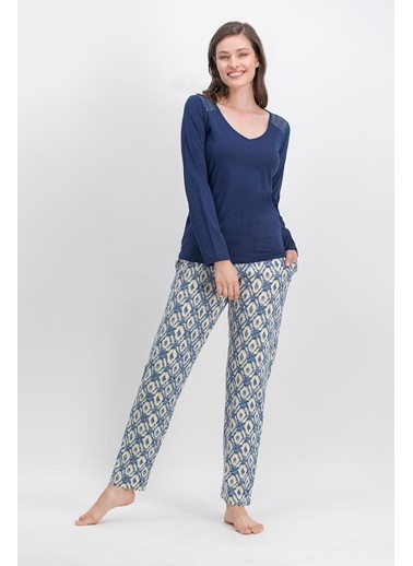 Arnetta Arnetta Ethnic Lace Lacivert Kadın Pijama Takımı Lacivert